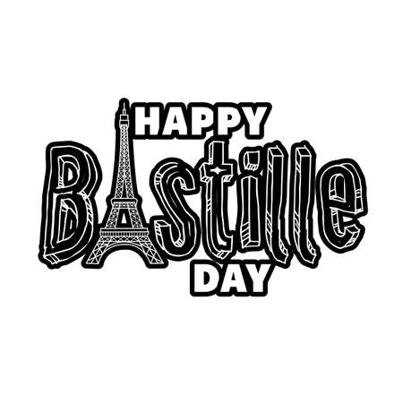 bastille day lettering with eiffel tower line style vector illustration design