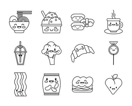 bundle of nutritive food kawaii set icons vector illustration design