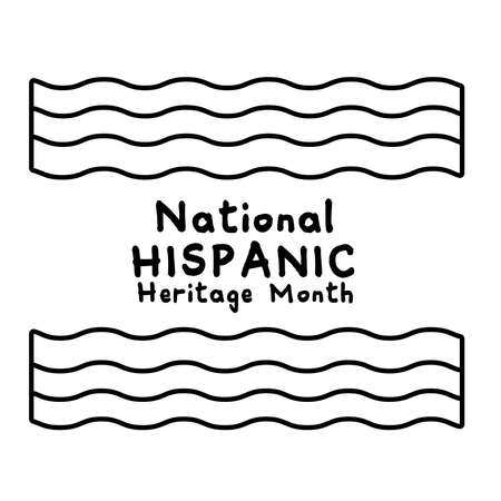 national hispanic heritage lettering with flags line style icon vector illustration design