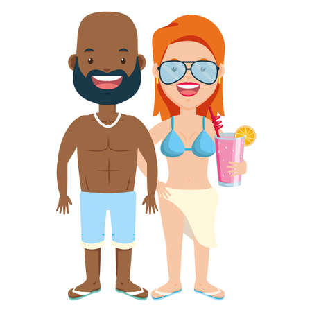 summer time couple in swimsuit with cocktail vector illustration