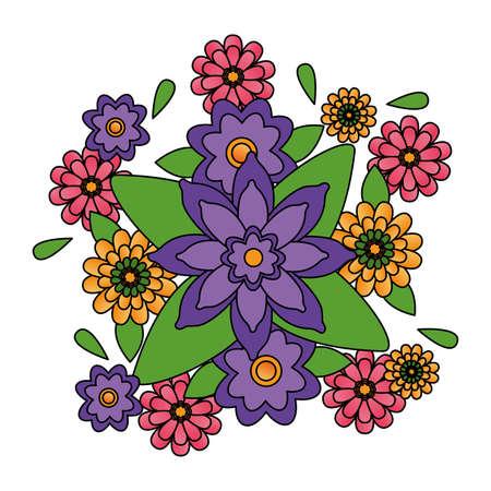 arrangement floral flowers ornament decoration vector illustration design Vector Illustration