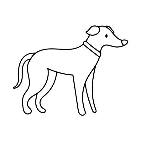 cute dog pet line style icon vector illustration design