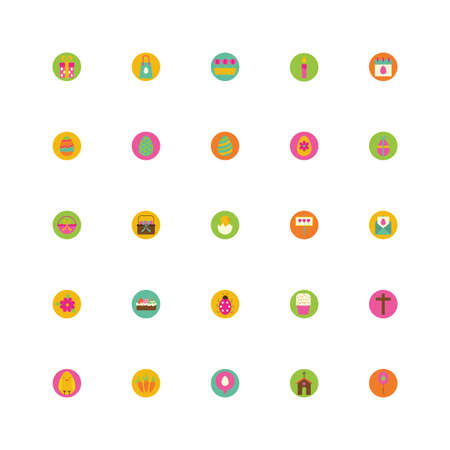 bundle of spring set block and flat icons vector illustration design