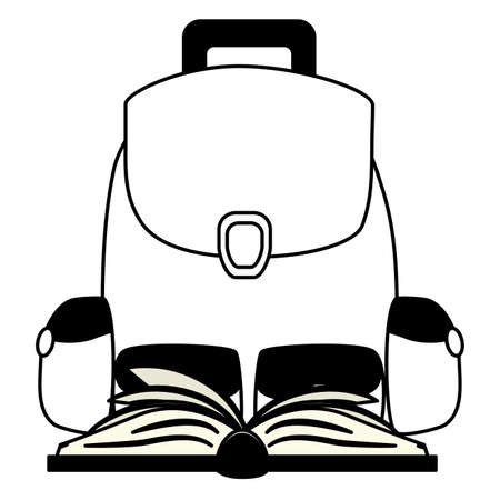 backpack and open book back to school vector illustration Çizim