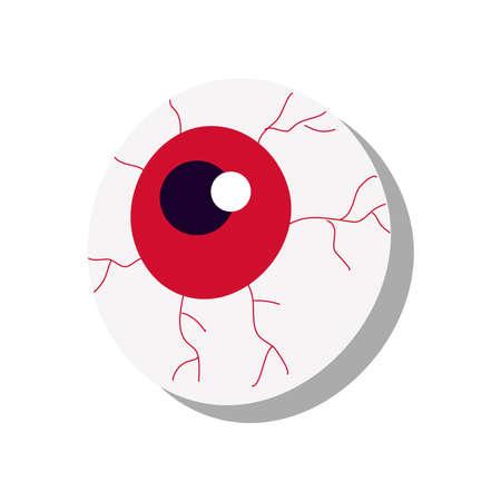 halloween eye flat style icon vector illustration design