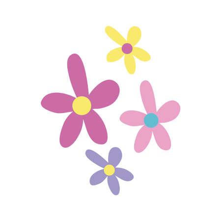 beautiful flowers garden hand draw style icon vector illustration design