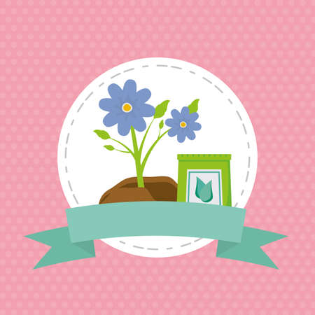 flowers soil sack decoration gardening flat design vector illustration