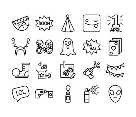 bundle of fools day set icons vector illustration design