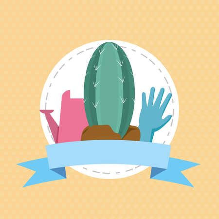 cactus glove watering can plants decoration gardening flat design vector illustration