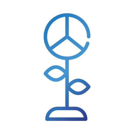 flower with peace and love symbol gradient style icon vector illustration design
