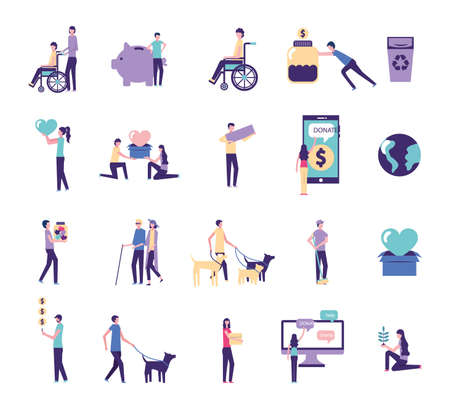 bundle of people practicing charity activities vector illustration design
