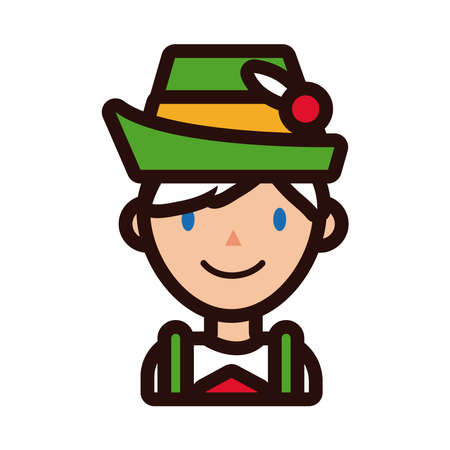 man in traditional oktoberfest costume line and fill style vector illustration design