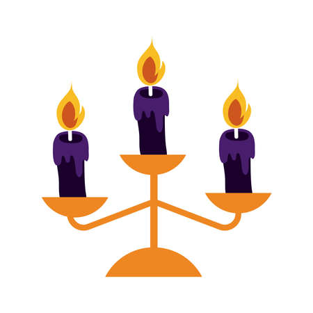 chandelier with candles flat style icon vector illustration design