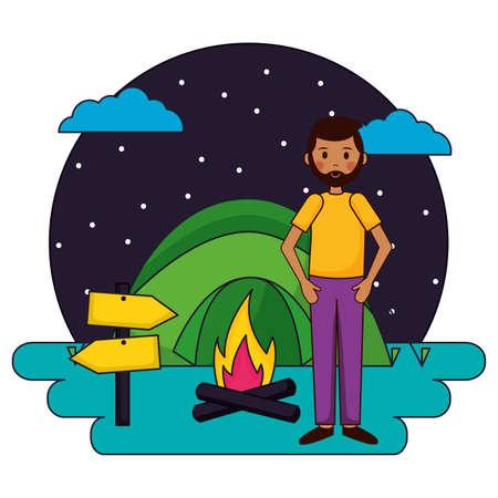 man camping tent campfire vacations mountians vector illustration