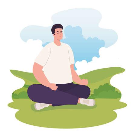 man doing yoga at park design, Outdoor activity and season theme Vector illustration