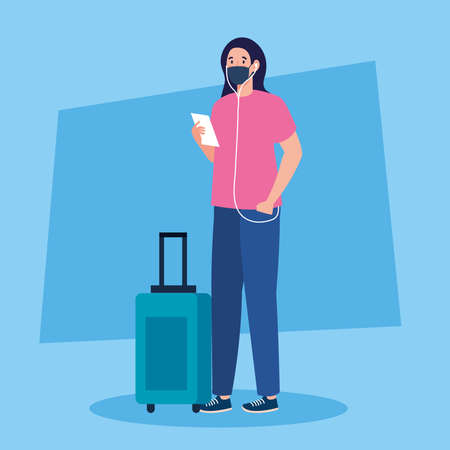 New normal of woman with mask ticket and travel bag design of covid 19 virus and airport theme Vector illustration