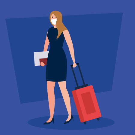 New normal of woman with mask passport and travel bag design of covid 19 virus and airport theme Vector illustration Illustration