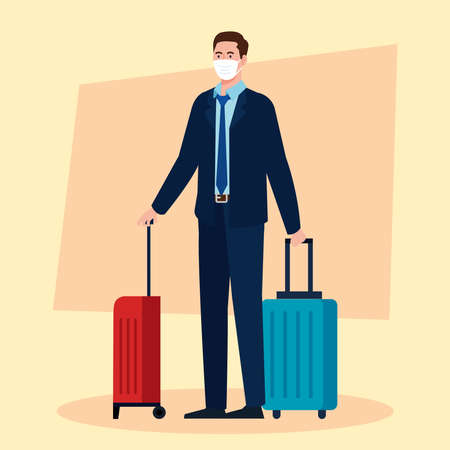 New normal of man with mask suit and travel bags design of covid 19 virus and airport theme Vector illustration Illustration