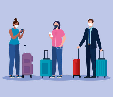 New normal of women and man with mask and travel bags design of covid 19 virus and airport theme Vector illustration