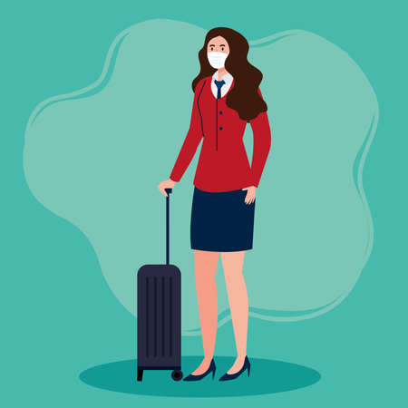New normal of stewardess with mask and travel bag design of covid 19 virus and airport theme Vector illustration Illustration