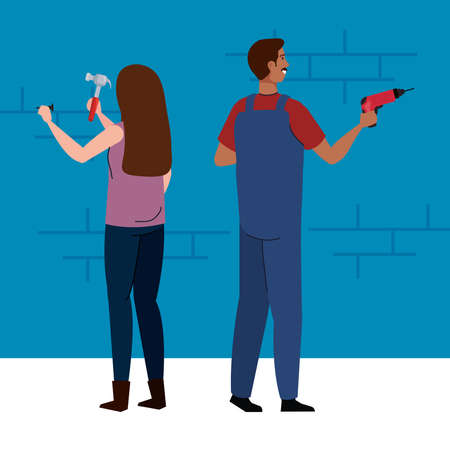 woman and man with construction drill and hammer design of remodeling working and repairing theme Vector illustration Vektoros illusztráció