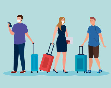 New normal of men and woman with mask and travel bags design of covid 19 virus and airport theme Vector illustration