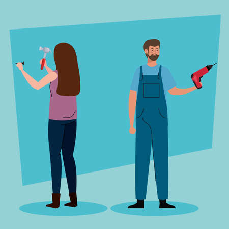 woman and man with construction drill and hammer design of remodeling working and repairing theme Vector illustration