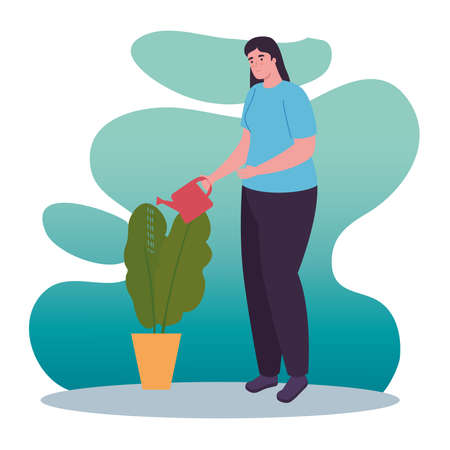 woman with plant and watering can design of Activity and leisure theme Vector illustration