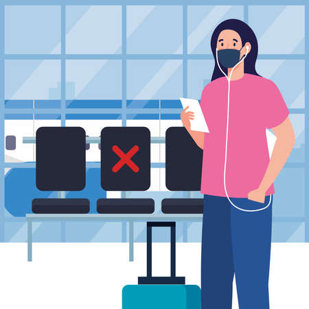 New normal of woman with mask ticket and bag at airport design of covid 19 virus and travel theme Vector illustration