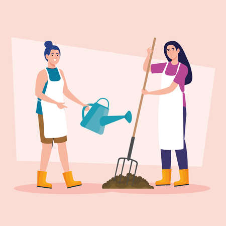 Gardening women with rake and watering can design, garden planting and nature theme Vector illustration