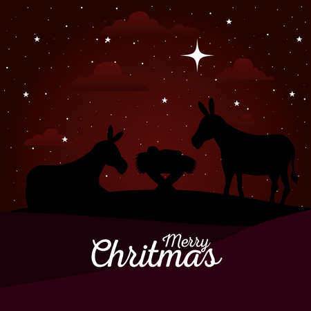 merry christmas and nativity baby and donkeys on red background design, winter celebration theme Vector illustration