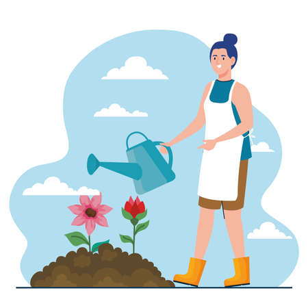 Gardening woman with watering can and flowers design, garden planting and nature theme Vector illustration Vettoriali