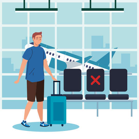 New normal of man with mask and bag at airport design of covid 19 virus and travel theme Vector illustration