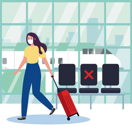 New normal of woman with mask and bag at airport design of covid 19 virus and travel theme Vector illustration