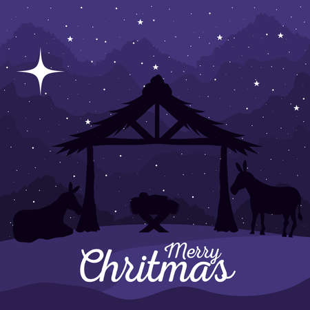 merry christmas and nativity baby and donkeys on blue background design, winter celebration theme Vector illustration