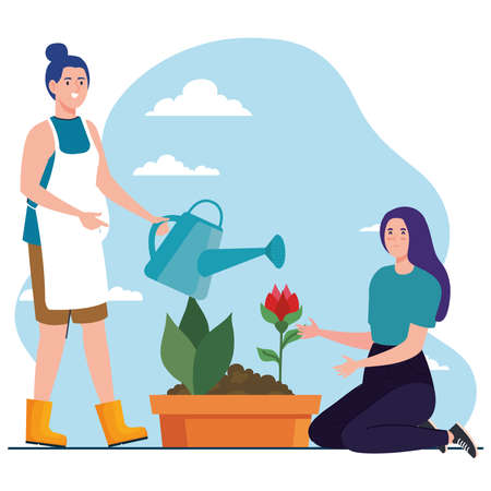 Gardening women with watering can and rose flower design, garden planting and nature theme Vector illustration Vettoriali