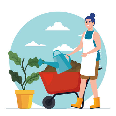Gardening woman with watering can plant and wheelbarrow design, garden planting and nature theme Vector illustration Vettoriali