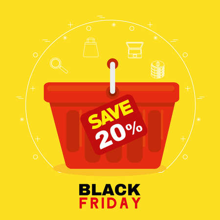 black friday with basket design, sale offer save and shopping theme Vector illustration
