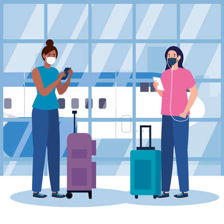 New normal of women with mask and bags at airport design of covid 19 virus and travel theme Vector illustration