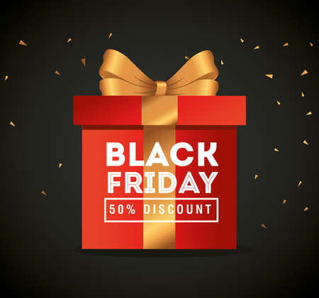 black friday with gift design, sale offer save and shopping theme Vector illustration