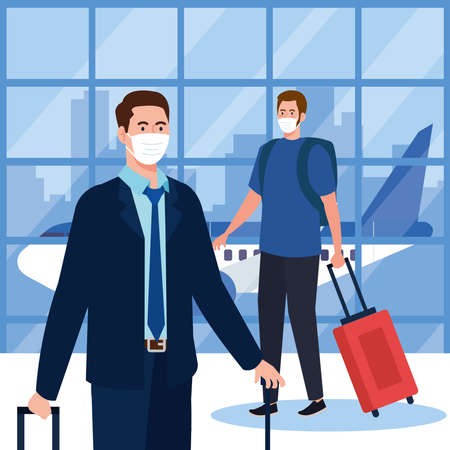 New normal of men with mask and bags at airport design of covid 19 virus and travel theme Vector illustration