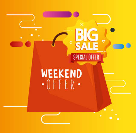 black friday bag design, sale offer save and shopping theme Vector illustration