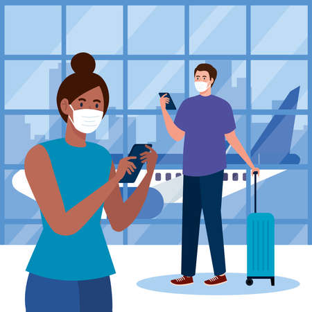 New normal of woman man with mask smartphones and bag at airport design of covid 19 virus and travel theme Vector illustration