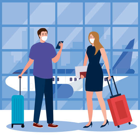New normal of woman man with mask smartphone passport and bags at airport design of covid 19 virus and travel theme Vector illustration
