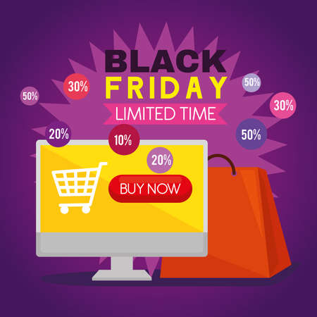 black friday computer with cart and bag design, sale offer save and shopping theme Vector illustration  イラスト・ベクター素材