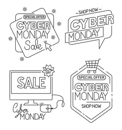 cyber monday set icons design, sale ecommerce shopping online theme Vector illustration