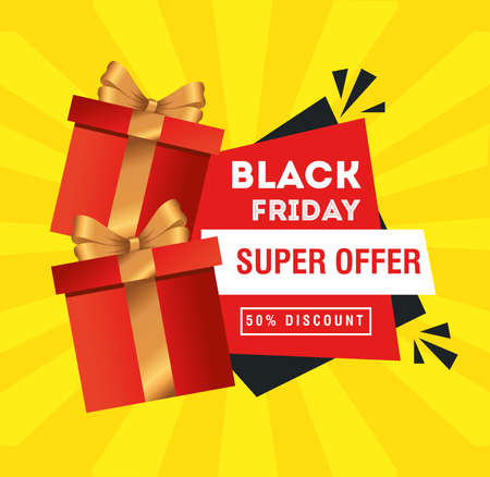 black friday with gifts design, sale offer save and shopping theme Vector illustration