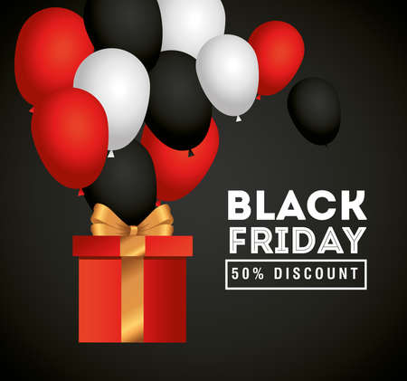 black friday with gift and balloons design, sale offer save and shopping theme Vector illustration