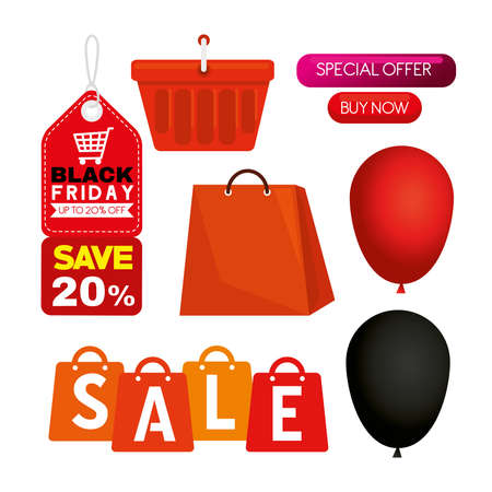 black friday set of icons design, sale offer save and shopping theme Vector illustration