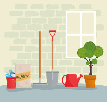 Gardening tools bucket fertilizer bag rake shovel watering can and plant design, garden planting and nature theme Vector illustration
